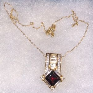 Jewelry - Red Ruby 18k Yellow Gold over Sterling Silver